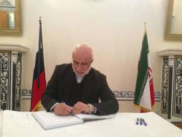 امضای دفتریادبود سفارت روسیه در تهران در پی ترور سفیر این کشور در ترکیه
