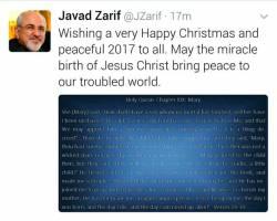 پیام تبریک ظریف به مناسبت میلاد حضرت مسیح