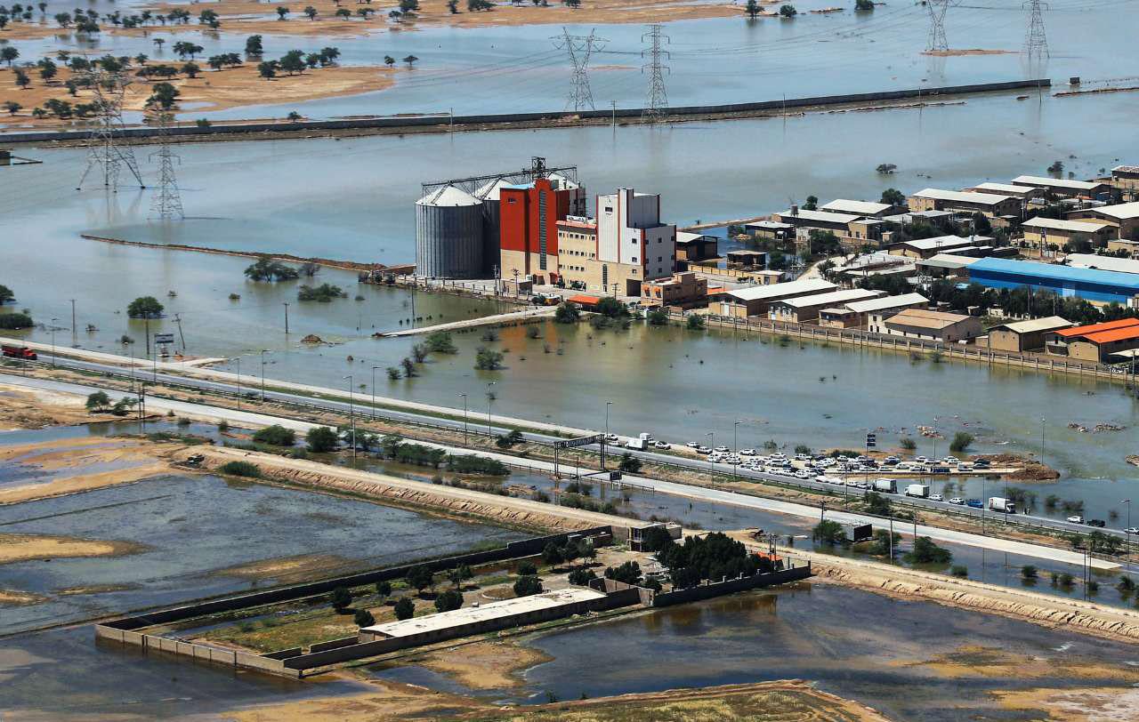 تصاویر هوایی از آخرین وضعیت سیل در خوزستان(26 فروردين 1398)