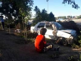 تصادف فجیع در بر بزرگراه آزادگان  / دو پراید ۳ کارتنخواب را زیر گرفتند!